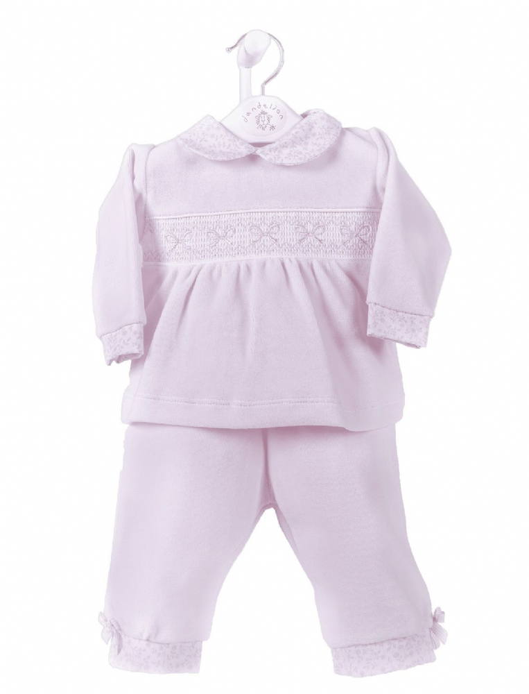 AV2406 Girls Ribbon Smocked Velour 2 piece Set